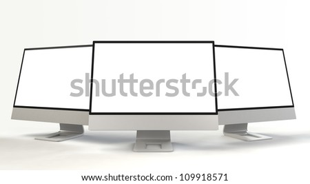 multiple monitors with blank screen(front view)