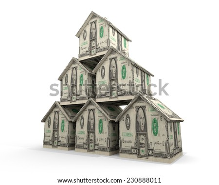 Multiple Mortgages: An illustration related to the financial burden of multiple mortgages or the financial gain from multiple property investments. - stock photo