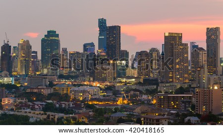 Multiple Office building during sunset, Bangkok business area background