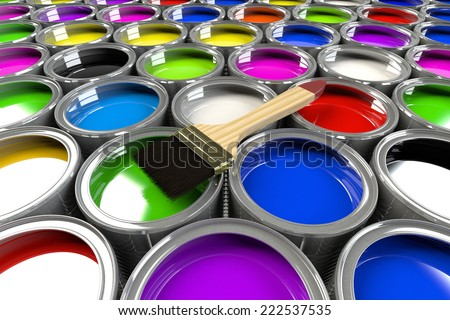 Multiple open paint cans with a brush. Rainbow colors. Creativity and diversity concept. - stock photo