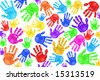 Multiple Painted Handprints of School Age Preschool Children - stock photo
