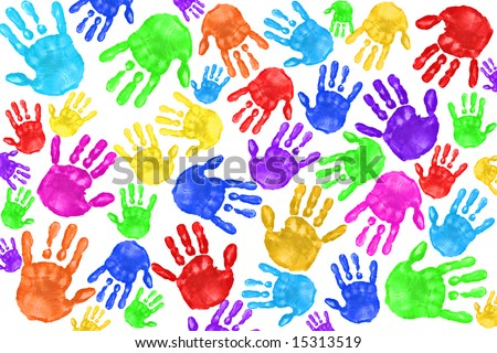 Multiple Painted Handprints of School Age Preschool Children - stock photo