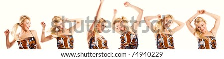 Multiple photos of a happy young blonde dancing (banner) - stock photo