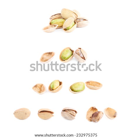 Multiple pistachio compositions isolated over the white background - stock photo