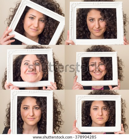 Multiple portraits collage of a beautiful young business woman with dark curly hair holding a picture frame and making different expressions and doing different things. - stock photo