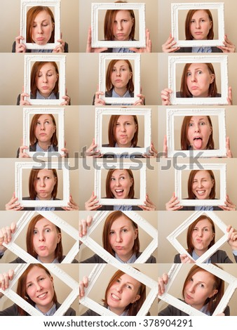 Multiple portraits collage of a beautiful young business woman with red hair and blue eyes holding a picture frame and making different expressions and doing different things.  - stock photo
