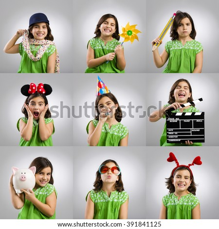 Multiple portraits of the same little girl playing with objects - stock photo