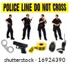 Multiple Poses of a Uniformed Police Officer on White With Misc Related Items - stock photo