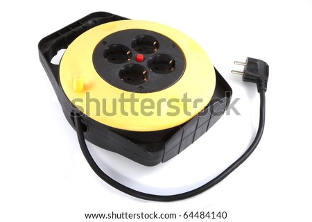 Multiple power sockets on a white background. - stock photo