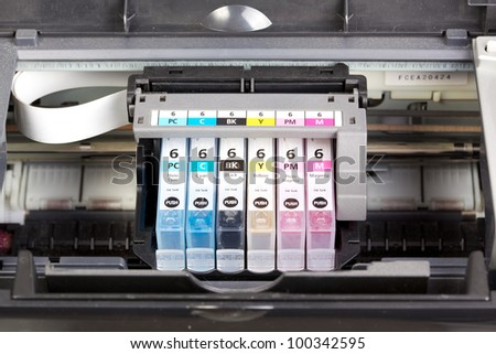 Multiple printer cartrigdes - stock photo