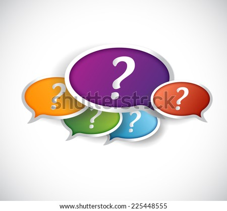 multiple question marks inside bubbles. illustration design over a white background - stock photo