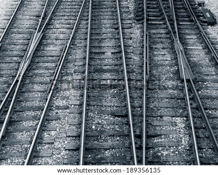 Multiple railway track switches , symbolic photo for decision, separation and leadership qualities