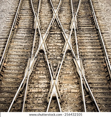 Multiple railway track switches , symbolic photo for decision, separation and leadership qualities - stock photo