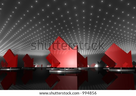multiple red arrows on pedestals, pointing downwards - stock photo
