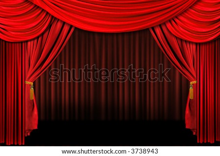 Multiple Red Layered Stage Theater Drape Background - stock photo