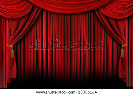Multiple Red Layered Stage Theater Drape Curtain Background - stock photo