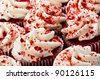 Multiple Red Velvet Cupcakes Close Together - stock photo