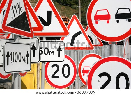 Multiple road signs - stock photo