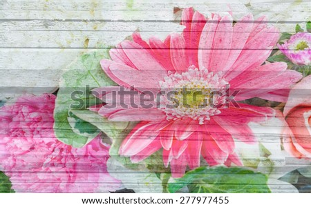 multiple rose flower decoration with wood pattern background - stock photo