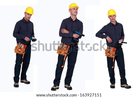 Multiple shot of carpenter holding various tools - stock photo