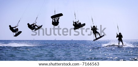 Multiple shots of a kite rider making a high jump. - stock photo