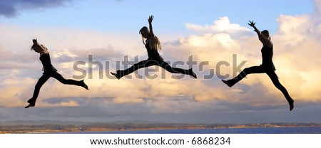 Multiple shots of a Leaping woman at sunset - stock photo