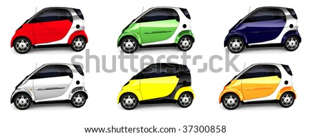 Multiple Small Compact Car - 6 Color scheme all isolated on white - stock photo