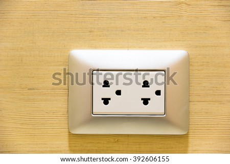 Multiple socket outlet and plug - stock photo