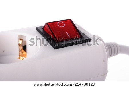 multiple socket outlet isolated on white background - stock photo