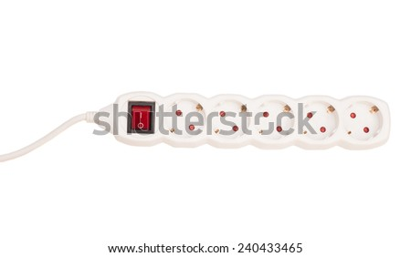 Multiple socket outlet on white isolated  - stock photo