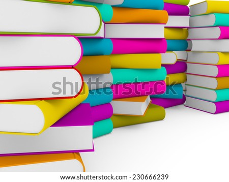 multiple stack of colorful books on white background, partial view - stock photo