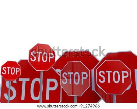 multiple stop warning signs over white background