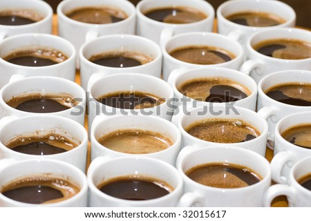 Multiple tasty coffee cups in a restaurant. - stock photo