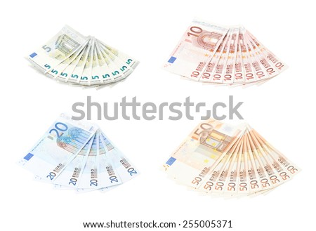 Multiple twenty euro bank notes arranged like a fan, composition isolated over the white background, set of five, ten, twenty and fifty bills - stock photo