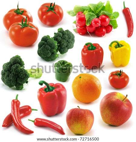 Multiple vegetables and fruits (isolated on white) - stock photo