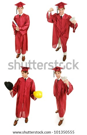 Multiple views of a young high school or college graduate.  Multiple views, full body, isolated on white. - stock photo