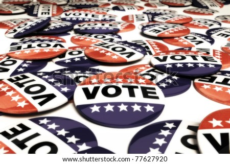 Multiple vote pins , 3d model, 300 D.P.I - stock photo