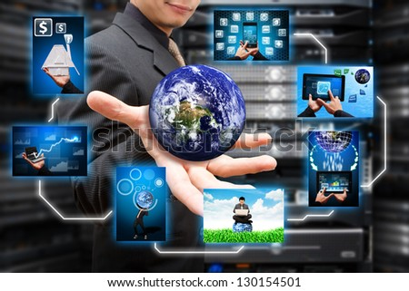 Multiple window file in server room : Elements of this image furnished by NASA - stock photo