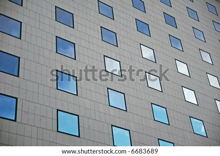 multiple windows with different shades of blue - stock photo
