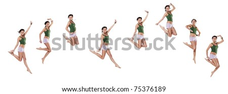 Multiple young emotional woman jumping, isolated on white - stock photo