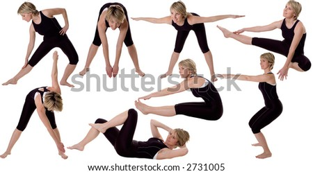 multiple young women stretching on white background