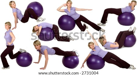 multiple young womn stretching with ball on white background - stock photo