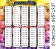 Multiplication Table - Educational Material for Primary School Level - Colorful Abstract Background One, Two, Three, Four, Five, Six, Seven, Eight, Nine, Ten - Helpful For Children, Classroom - stock photo