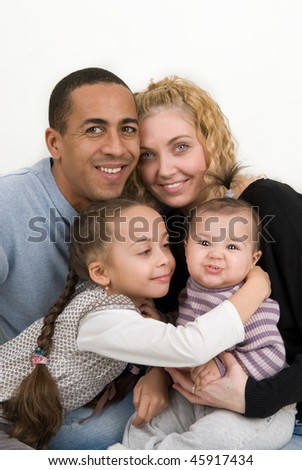 multiracial family with two children