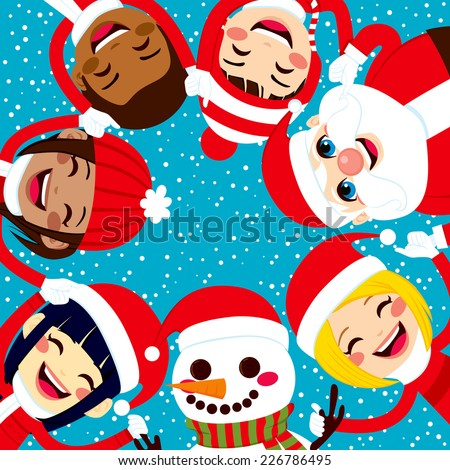 Multiracial group of happy smiling children with Santa Claus and Snowman holding hands together in circle - stock photo