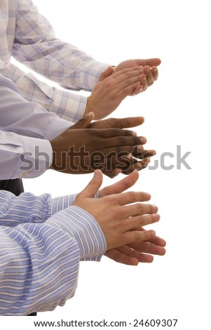 multiracial hands gesturing together isolated on white (selective focus) - stock photo
