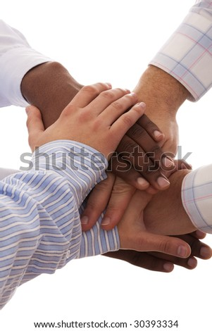 multiracial hands together isolated on white (selective focus) - stock photo