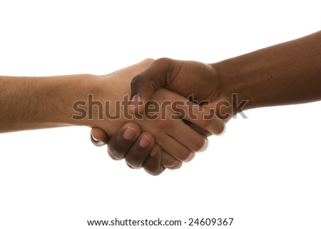 multiracial handshake from an african and a caucasian men hand (isolated on white)