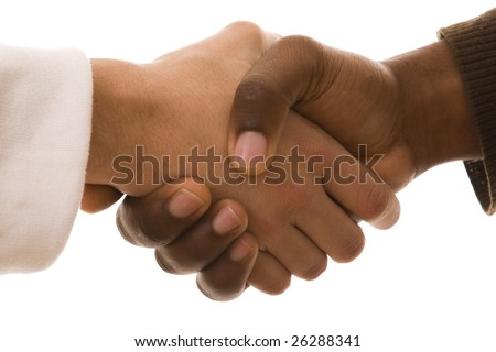multiracial handshake from an african and a caucasian men hand (isolated on white) - stock photo