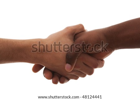 multiracial handshake from an african and caucasian men hands (isolated on white) - stock photo